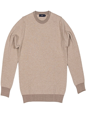 Jrium Highest Grade Merino Wool Harringbone Round Knit - Beige