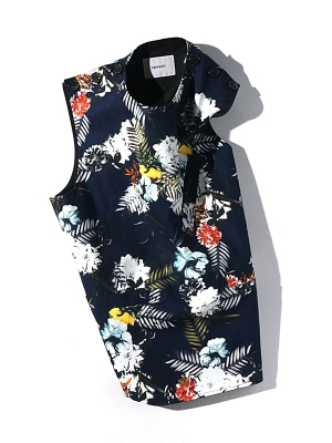 synopsis Reversible Vest - Flower Navy