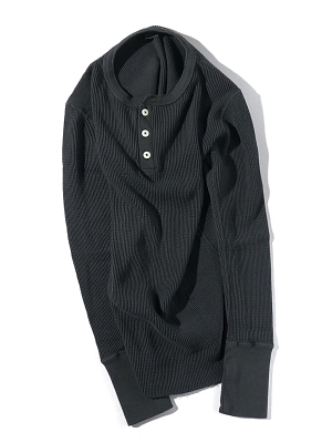 Patchii Retro New Henley Neck - Charcoal