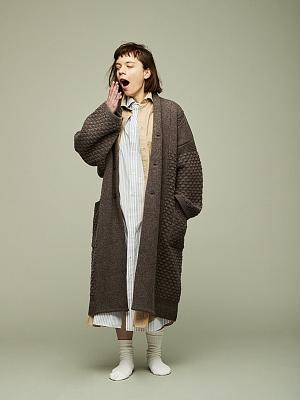 Yashiki Uninari Knit Coat - Mocha