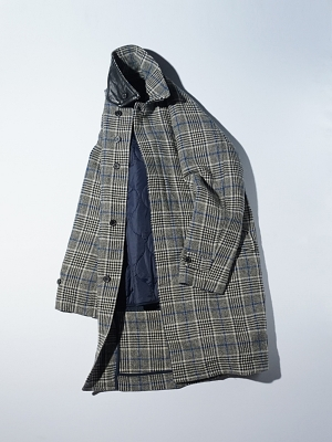 Eastlogue Balmacaan Coat - Beige Blue Check