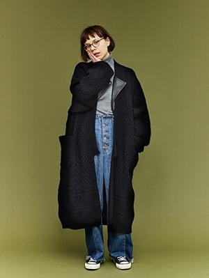 Yashiki Tsukimi Knit Coat -Black