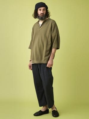 Yashiki Asasuzu Henley Knit - Khaki